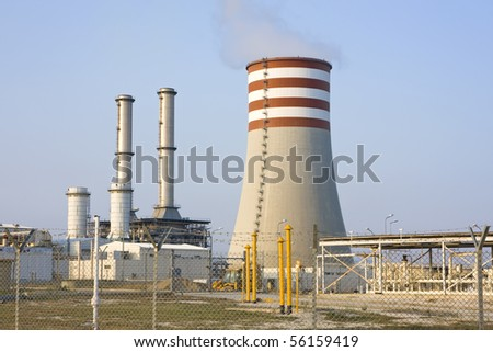 Natural gas electricity power station - stock photo
