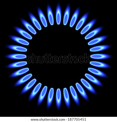 Natural gas flame. gas stove burner - stock photo