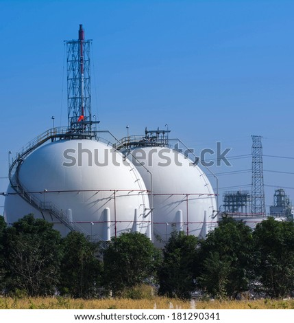 natural gas industrial storage sphere tanks - stock photo