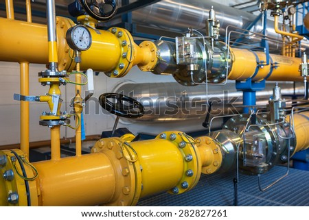 Natural gas inventory unit. Modern energy plant.