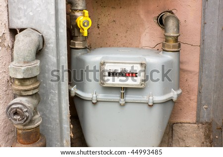 natural gas meter, cabinet with gauge, counter for distribution domestic gas - stock photo