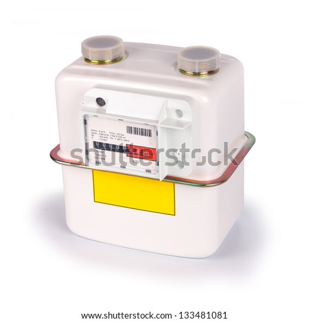 Natural Gas Meter. Isolated on white background. Including clipping path. All copyrighted elements removed.