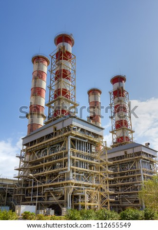 Natural gas power plant - stock photo