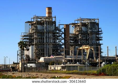 Natural gas power plant near Ventura California. - stock photo