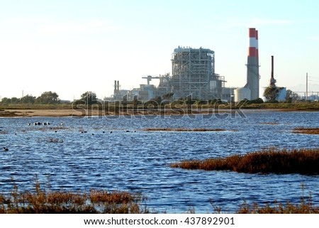 Natural gas power station near Oxnard California. - stock photo