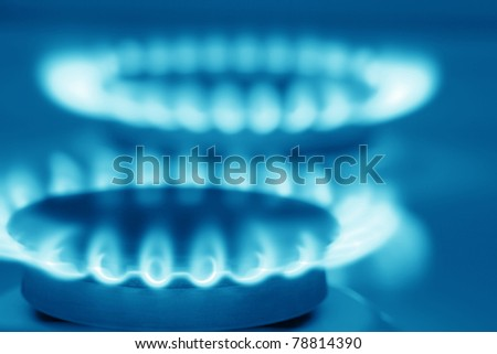 Natural gas stove (blue toned) - stock photo