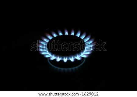 Natural gas stove burner - stock photo