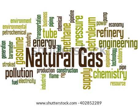 Natural Gas, word cloud concept on white background.