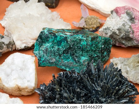 Natural gemstones - textures and colors - stock photo