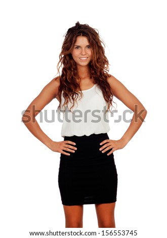 Natural girl with curly hair and mini-skirt isolated on a white background - stock photo