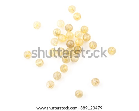 Natural Gold Hair quartz crystal gem stone. Venus Hair isolated on white background - stock photo