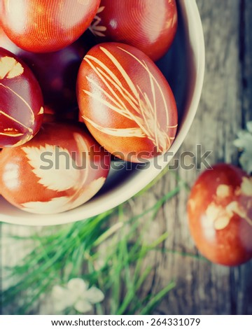 Natural Grass in Easter Decor on Eggs. Eco Style. Boiled in Onions Peels - stock photo