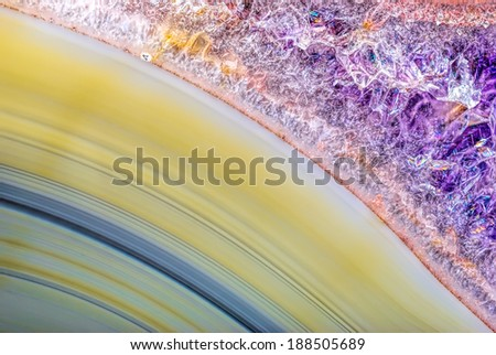 Natural Green Agate with Amethyst Crystals - stock photo