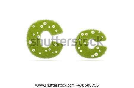 Natural green grass with camolines font. Letters C c . 3D illustration