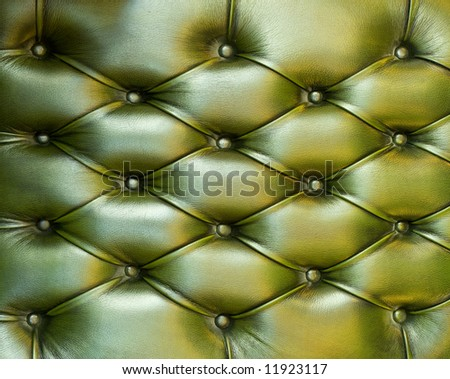 Natural green leather texture. Close up.