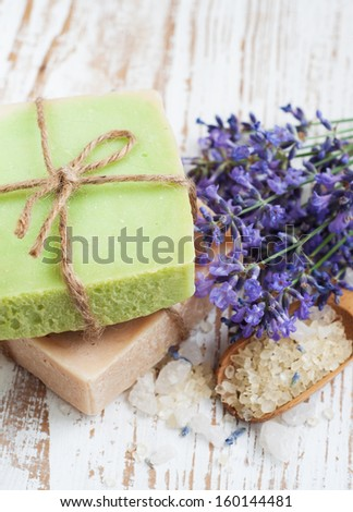 Natural handmade Herbal Soap with lavender flowers - stock photo