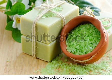 Natural handmade soap and bath salt for aromatherapy - stock photo