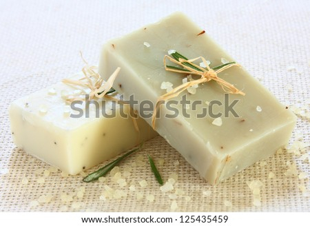 Natural handmade soap and sea salt - stock photo