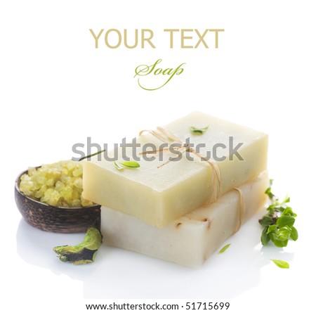 Natural Handmade Soap over white - stock photo