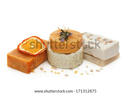 Natural handmade soap over white background