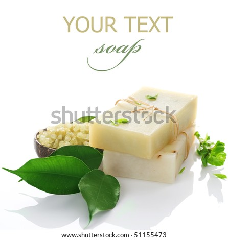 Natural handmade Soap with herbs  isolated on white - stock photo