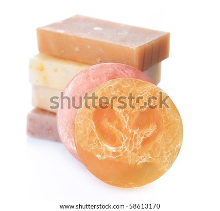 Natural Handmade Spa Soap over white - stock photo
