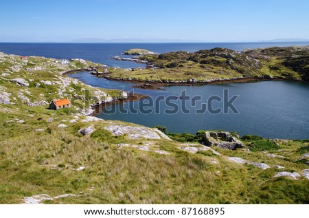 Natural harbour at Manish, South Harris in sunshine - stock photo