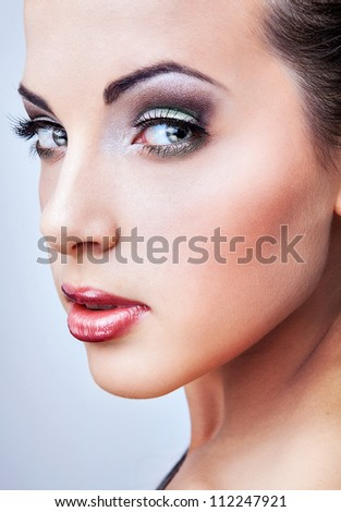 Natural health beauty of a woman face - stock photo