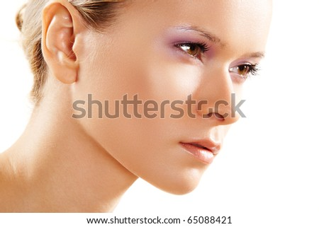 Natural health, wellness & beauty. Beautiful close-up portrait of sensual woman model with clean face on white background. Skin care. - stock photo