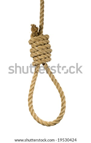 Natural hemp rope tied into a hangman's noose. - stock photo