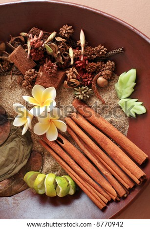 Natural herbal ingredient prepared for the ultimate aromatherapy and spa sessions. - stock photo