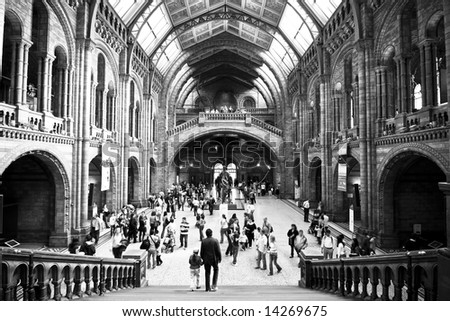 Natural history museum in black and white. - stock photo