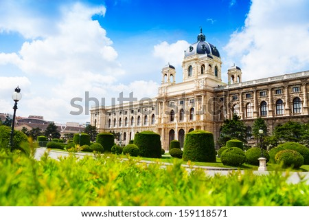 Natural history museum in Vienna, capital city of Austria downtown on sunny spring day - stock photo