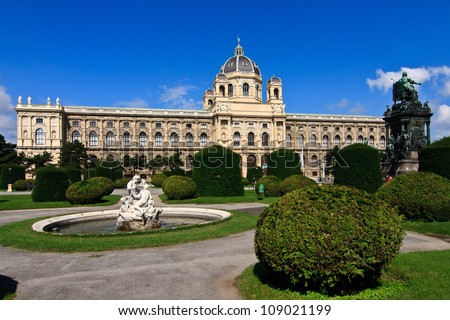 Natural History Museum in Vienna, park with fountain - Wien - stock photo