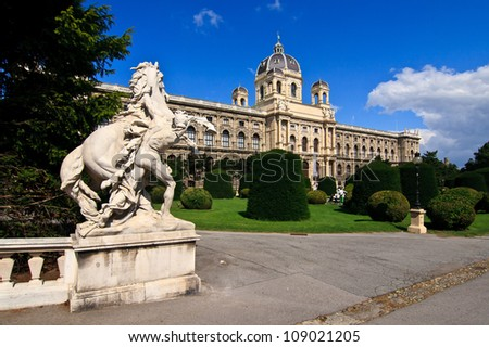 Natural History Museum in Vienna, park with fountain - Wien