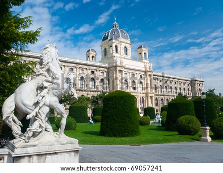 Natural History Museum, Vienna. Sculptures on foreground - stock photo