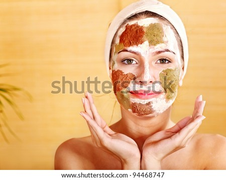 Natural homemade clay  facial masks at home . - stock photo