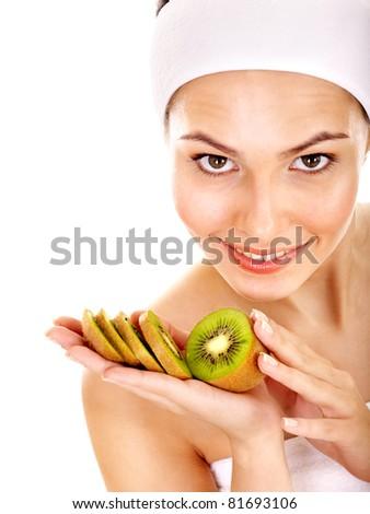 Natural homemade fruit  facial masks . Isolated. - stock photo