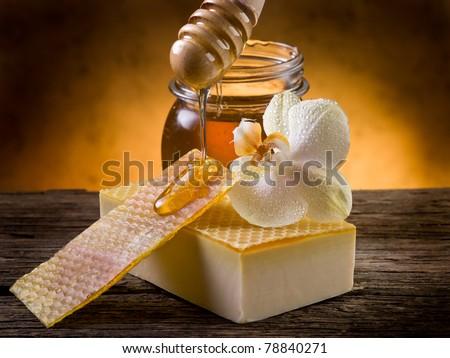 natural homemade honey soap - stock photo