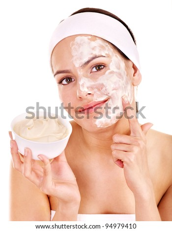 Natural homemade organic  facial masks of honey. Isolated. - stock photo
