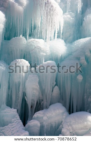 Natural icicles formed on trees - stock photo