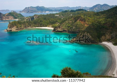 Natural inlet of the tropical island in the pacific - stock photo