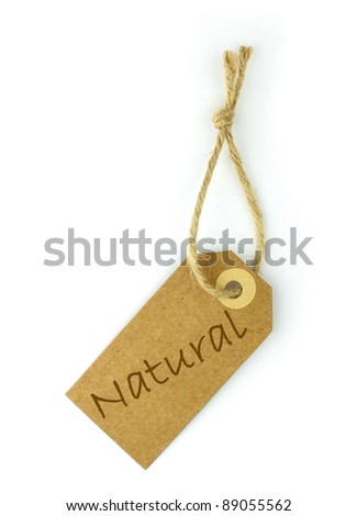 Natural label and text - stock photo