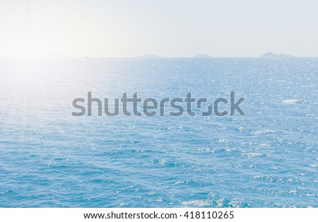Natural landscape. Island,  blue sky and ocean on sunshine day - stock photo