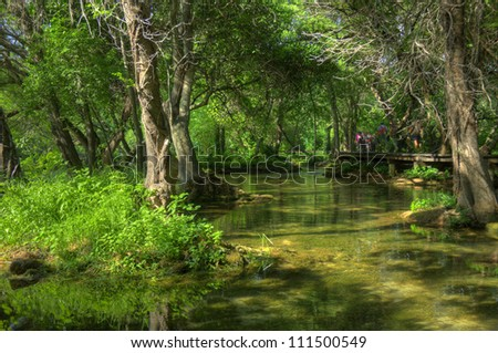 Natural landscape of trees and waterways in Krka National Park, Croatia