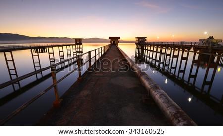 Natural landscape view at Reservoir (Bang-Pra reservoir) in Thailand. - stock photo