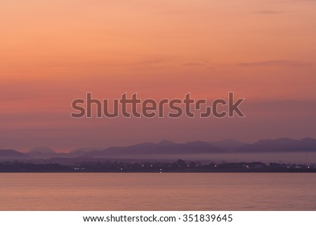 Natural landscape view in the morning. Scenery of Pa Sak Chonlasit dam, Lopburi province, Thailand. - stock photo