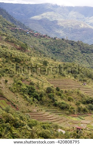 Natural Landscape with Agriculture in Chin Mountains, Myanmar (Burma) - stock photo
