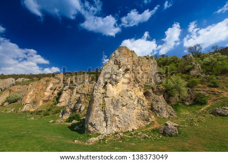 Natural landscape with old rock formations in Europe in summer