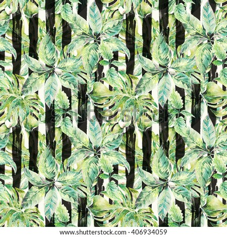 Natural leaves exotic watercolor seamless pattern, green tropical leaves, botanical summer illustration on striped background - stock photo
